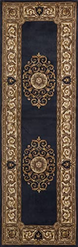 Momeni Rugs Maison Collection, 100 Wool Hand Carved Hand Tufted Traditional Area Rug, 2 6 x 8 Runner, Blue