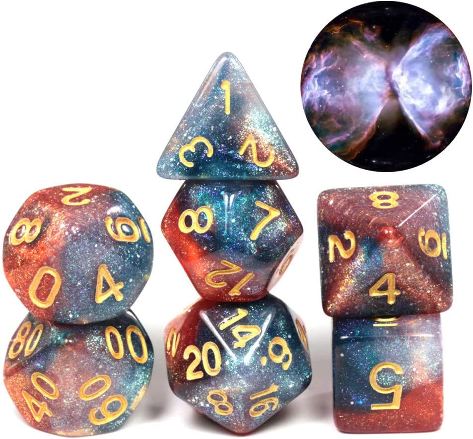 WHFDSBD Dados Poliédricos,Mariposa Swirl Galaxia Galaxia Cósmica Concepto Dados 7 Piezas Juego De rol Accesorios De Mesa De Dados Juego De Mesa