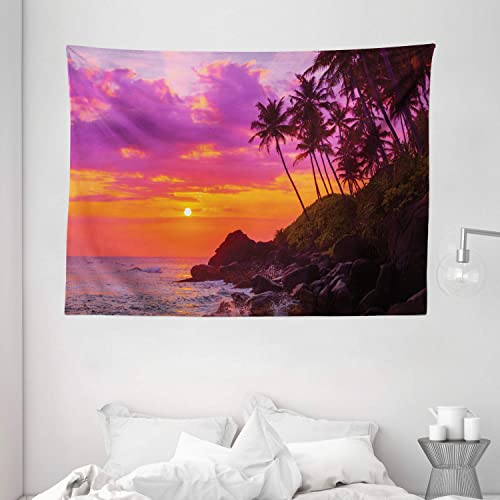 Ocean Decor by Ambesonne, Exotic View of Tropical Beach by the Ocean Marine Sealife with Palms and Waves Toward the Rocks, Wall Hanging for Bedroom Living Room Dorm, 80 X 60 Inch, Purple and Orange
