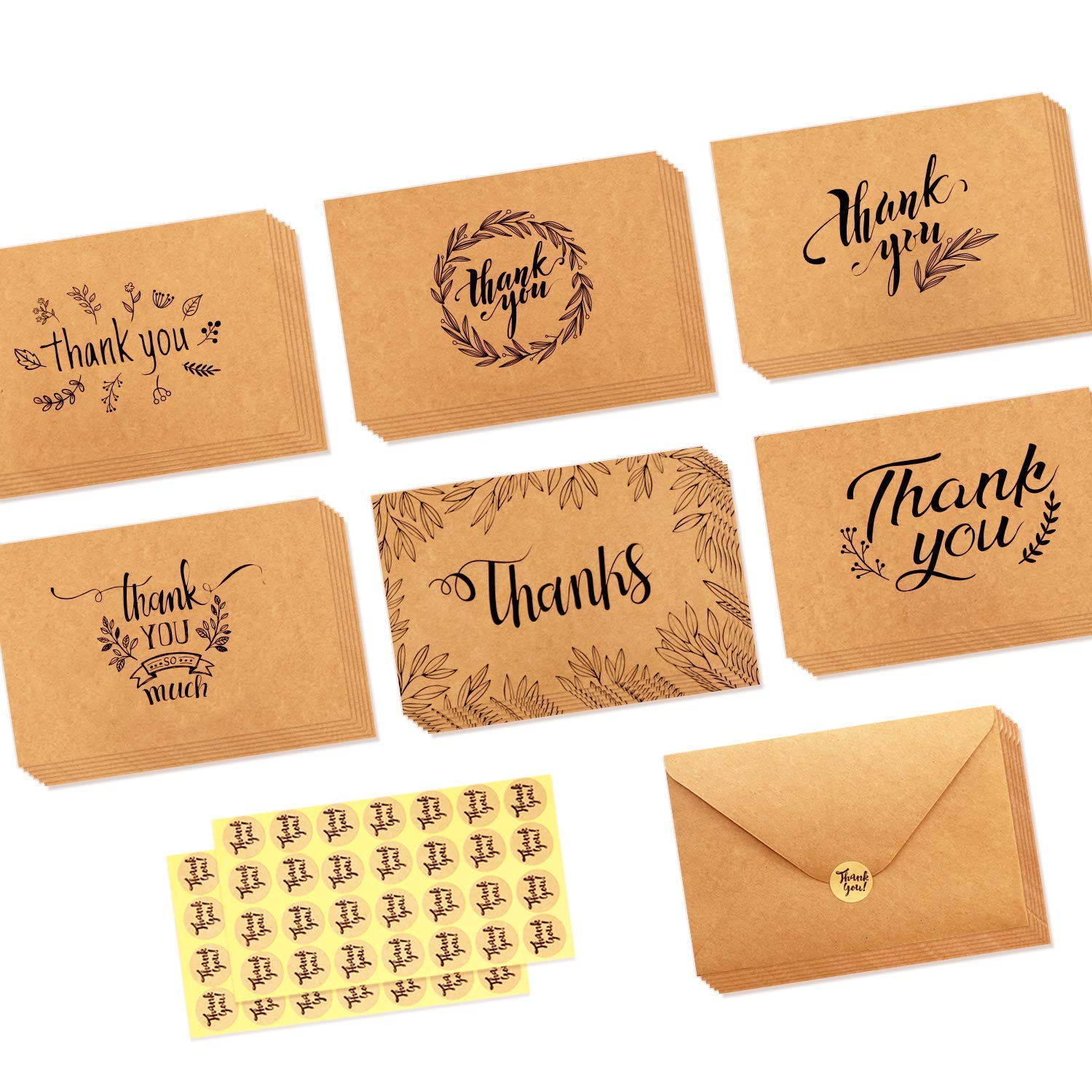 36 Pack Brown Kraft Paper Thank You Cards Thank U Greeting Card W/ 36 Kraft Paper Envelopes and 36 Pcs Envelope Thank You Stickers for Wedding, Graduation, Baby Shower, 3 x 4 Inches Yojoloin