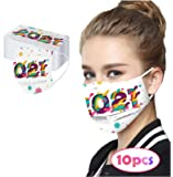 2021 Happy New Years Adult Disposable Face Protection 3Ply Non-woven Face Bandanas with Elastic Earloops Breathable…