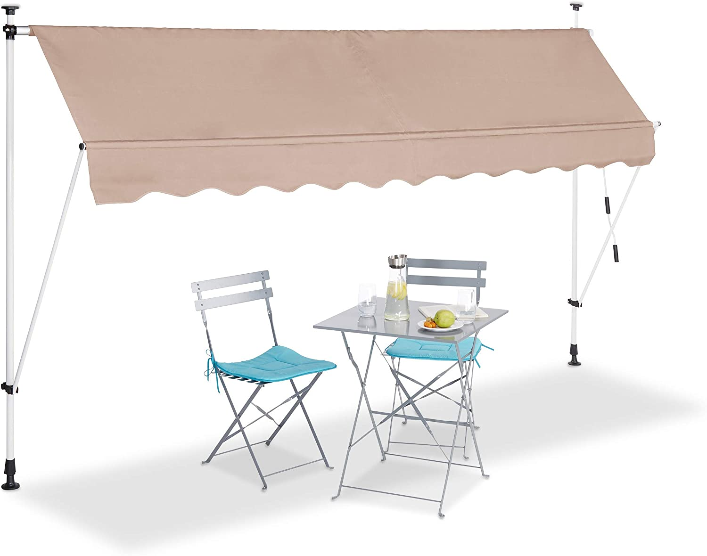 150 cm Retr/áctil Sin Taladro Protecci/ón Solar Ajustable Beige 150 x 120 cm Relaxdays Toldo Vela Enrollable