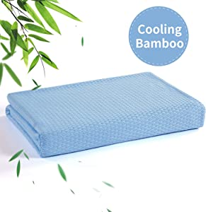 """HOMBYS Cooling Bamboo Blanket(58""""x78""""),Summer Blanket for Bed Sofa Travel,Bamboo Throw Blanket for Sleeping,Real Silk Softness and Drape Down,Eco Friendly,Wrinkle Free"""