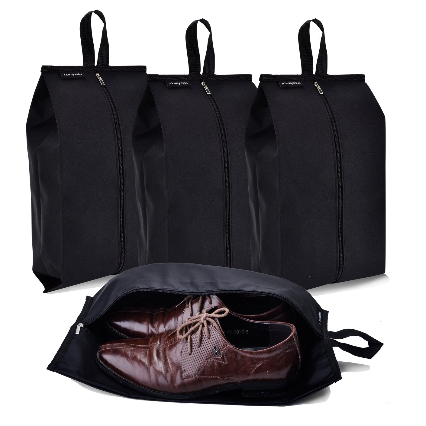 Alezywels Travel Shoe Bags Thick Nylon Waterproof Fabric with Zipper for Men or Women, 4 Pack (Black) 10483352