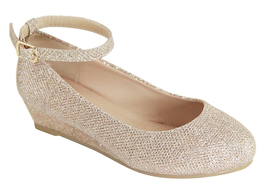 Girls Glitter Ankle Strap Wedge (Little Girl/Big Girl) - Dressy, Wedding, Holiday (Little Kid-10, Champagne)