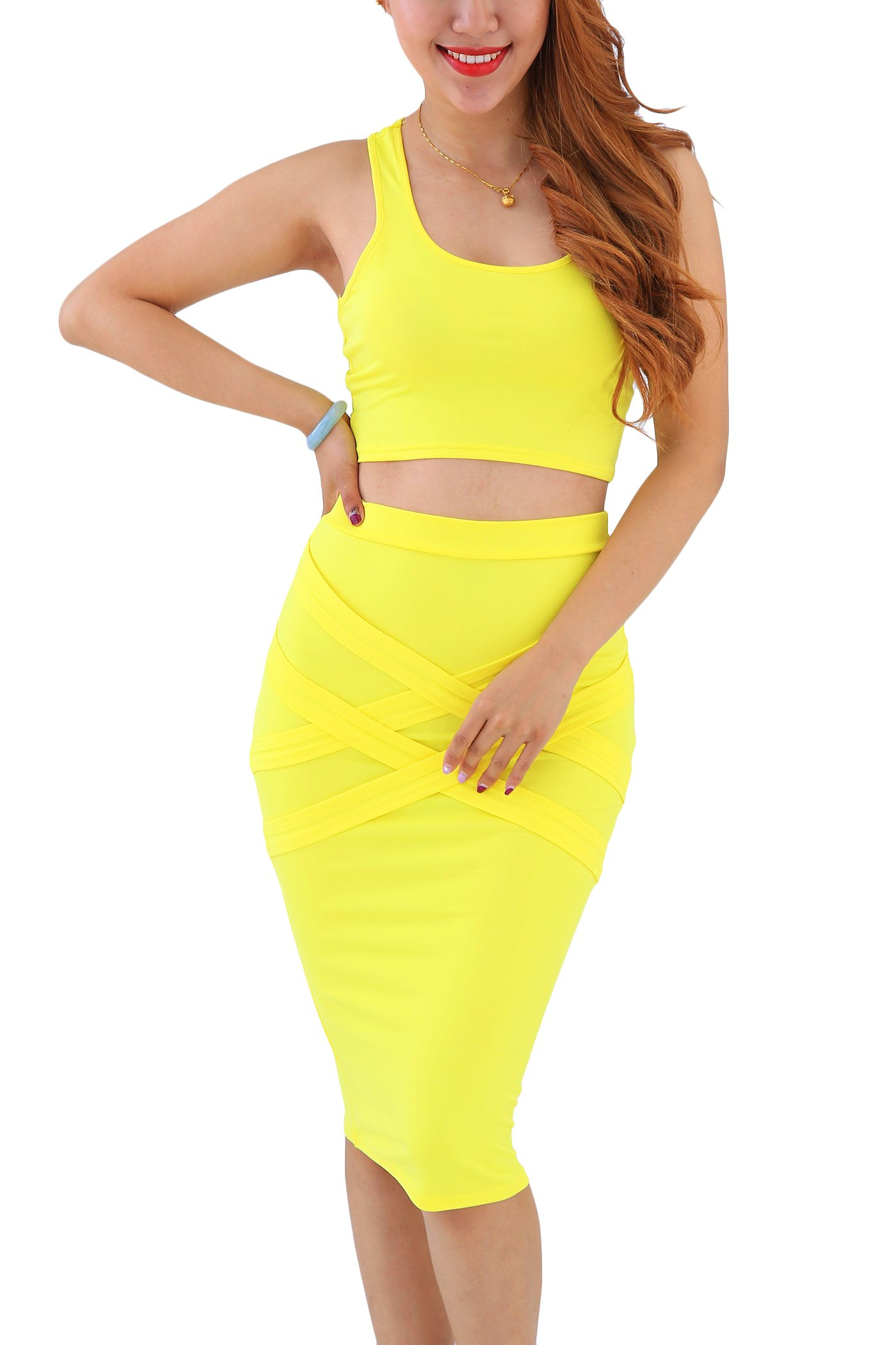 25e613a94421 YMING Women's Bodycon Club Dress Crop Top Outfits Bandage Sexy Dress Yellow  S