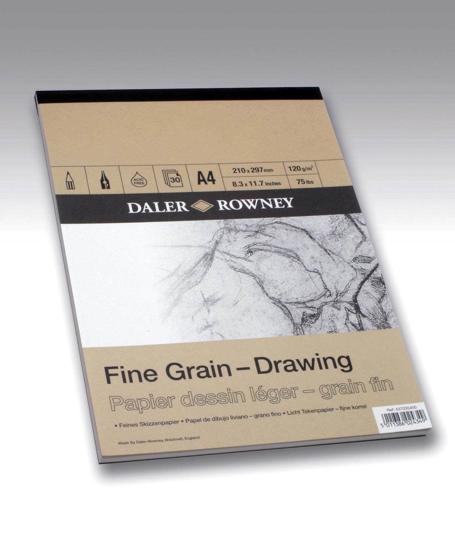 Daler Rowney Drawing Papier dessin esquisse grain fin A4 21 x 29, 7cm 50 feuilles 120g