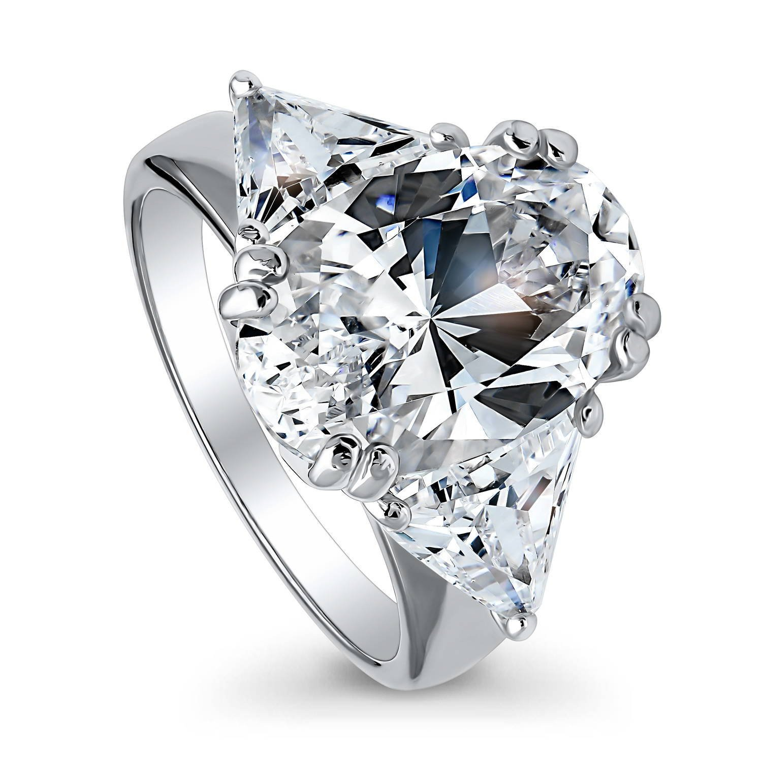 BERRICLE Rhodium Plated Sterling Silver Oval Cut Cubic Zirconia CZ 3-Stone Engagement Ring Size 8