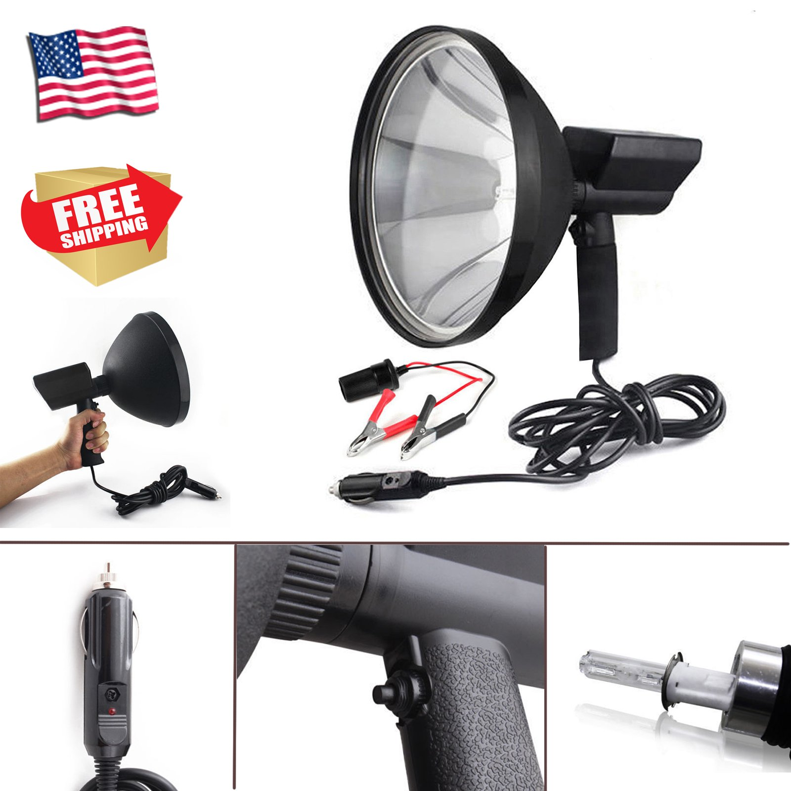 """Handheld Spotlight HID Xenon 9"""" 8000lm 6000K White 1 Mile Light Distance Extreme Bright High Power for Driving Camping Hunting Search Work + Battery Conversion Clamps"""