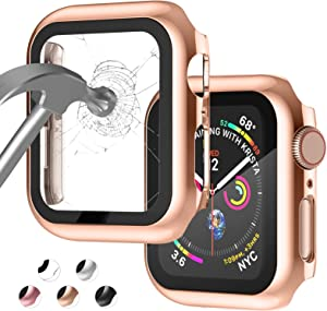 Apple Watch Case for Apple Watch 40MM Series 6/5/4/SE with Built-in Tempered Glass Screen Protector, All-Around Ultra-Thin Bumper Full Cover Hard PC Protective Case for iWatch