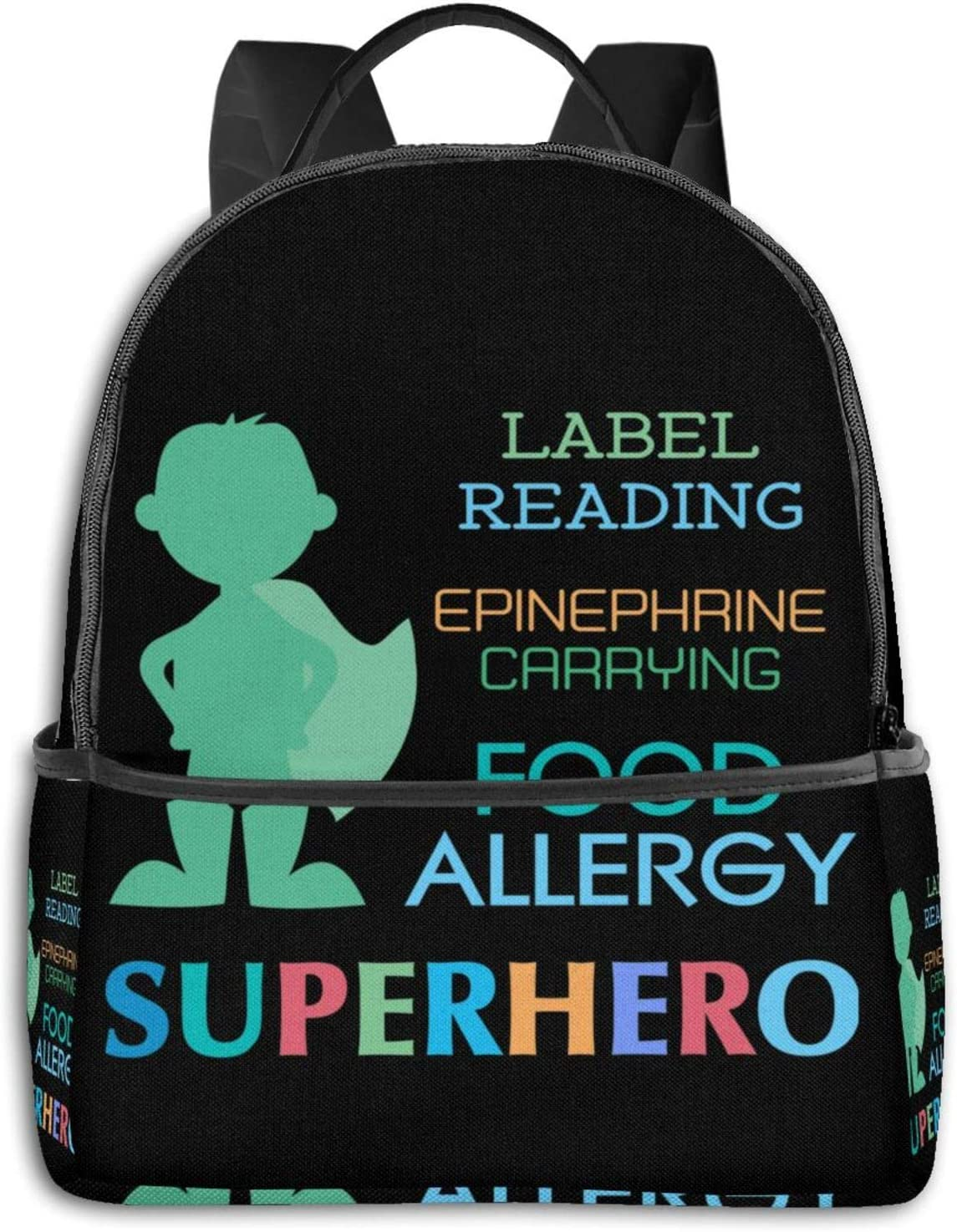Kids Food Allergy Boy Silhouette Pullover Hoodie Student School Bag School Cycling Leisure Travel Camping Outdoor Backpack