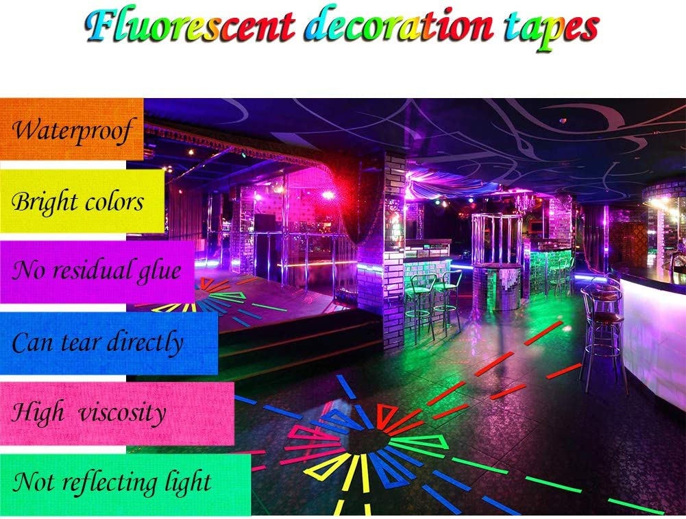 Coloured Adhesive Neon Gaffer//Spike//Fabric//Luminous Tapes Matte 6 Colors Pink Yellow Green etc Fluorescent Cloth Tape UV Blacklight Reactive Glow in The Dark Tape for Party Decoration