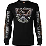 Harley-Davidson Military - Men's Black Long-Sleeve Eagle Graphic T-Shirt - Kadena Air Base   Eagle Ride