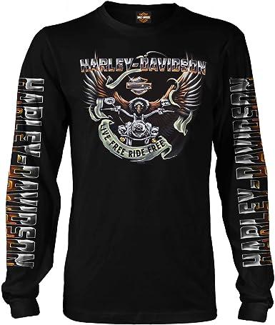HARLEY-DAVIDSON Military - Camiseta de Manga Larga para Hombre, diseño de águila, Color Negro: Amazon.es: Ropa y accesorios