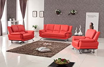 Amazon.com: Matisse Milano Contemporary Leather Sofa Set (RED ...