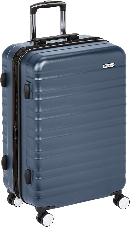 AmazonBasics - Maleta rígida de alta calidad, con ruedas y cerradura TSA incorporada - 68 cm, Azul marino