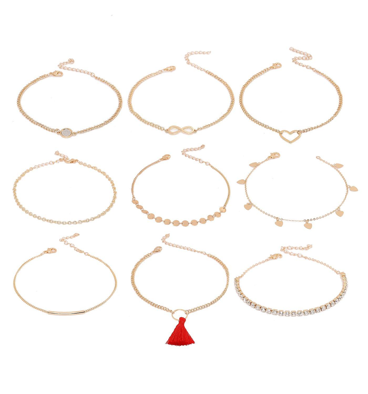 NVENF 9Pcs Ankle Jewelry Lady Girls Anklet Bracelets Adjustable Beach Anklet Foot Jewelry Set (Gold 9pcs)