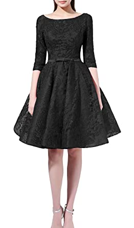 5d2cefc44ed Rong store Women s Lace Short Prom Dress Beading Homecoming Gown Black ...