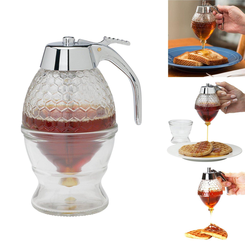 ELEFOCUS Honey Dispenser,Acrylic with Storage Stand, 8-Ounce Capacity