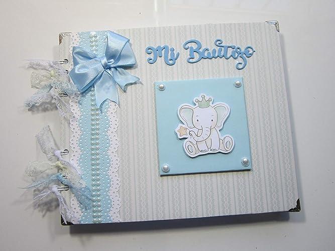 Libro de firmas bautismo niño, recuerdos, fotos. Scrapbooking, scrap ...