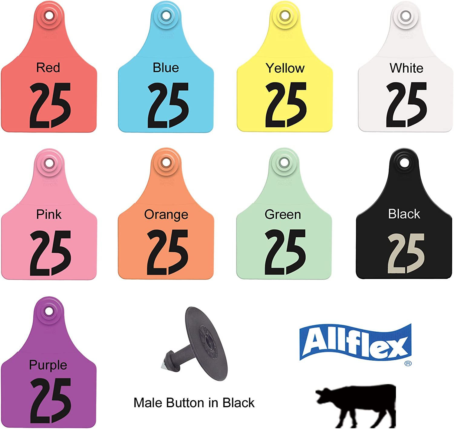 Z Tags Calf Ear Tags YELLOW Numbered #51-75