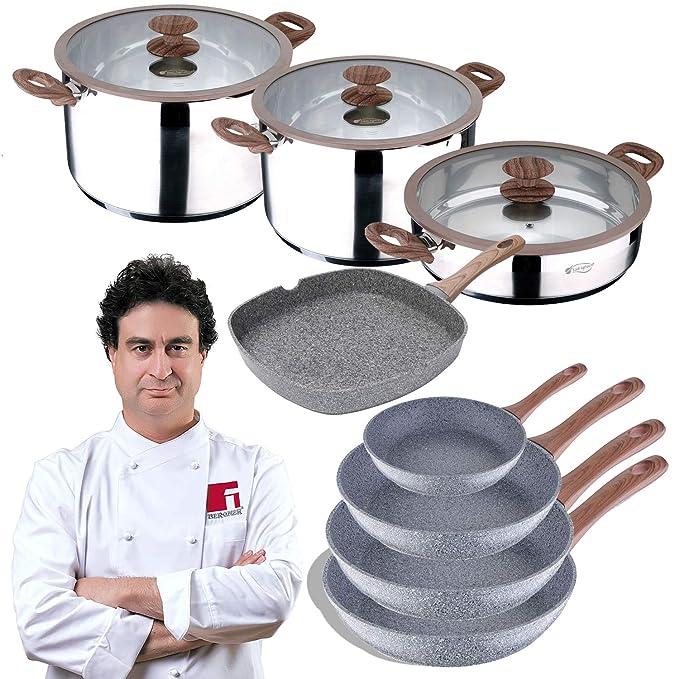 San Ignacio Bateria de Cocina Profesional 11 Piezas colección Granito, Ø24, Ø26 y Ø28, sartén Grill de 28x28 cms, y ollas con Tapa: Ø28x7 y Ø20 y Ø28x16 cm, ...