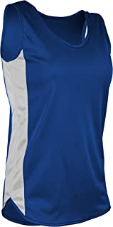 product image for TR-980W-CB Women's Athletic Lightweight Single Ply Track Singlet with Side Panels (Medium, Royal/White)