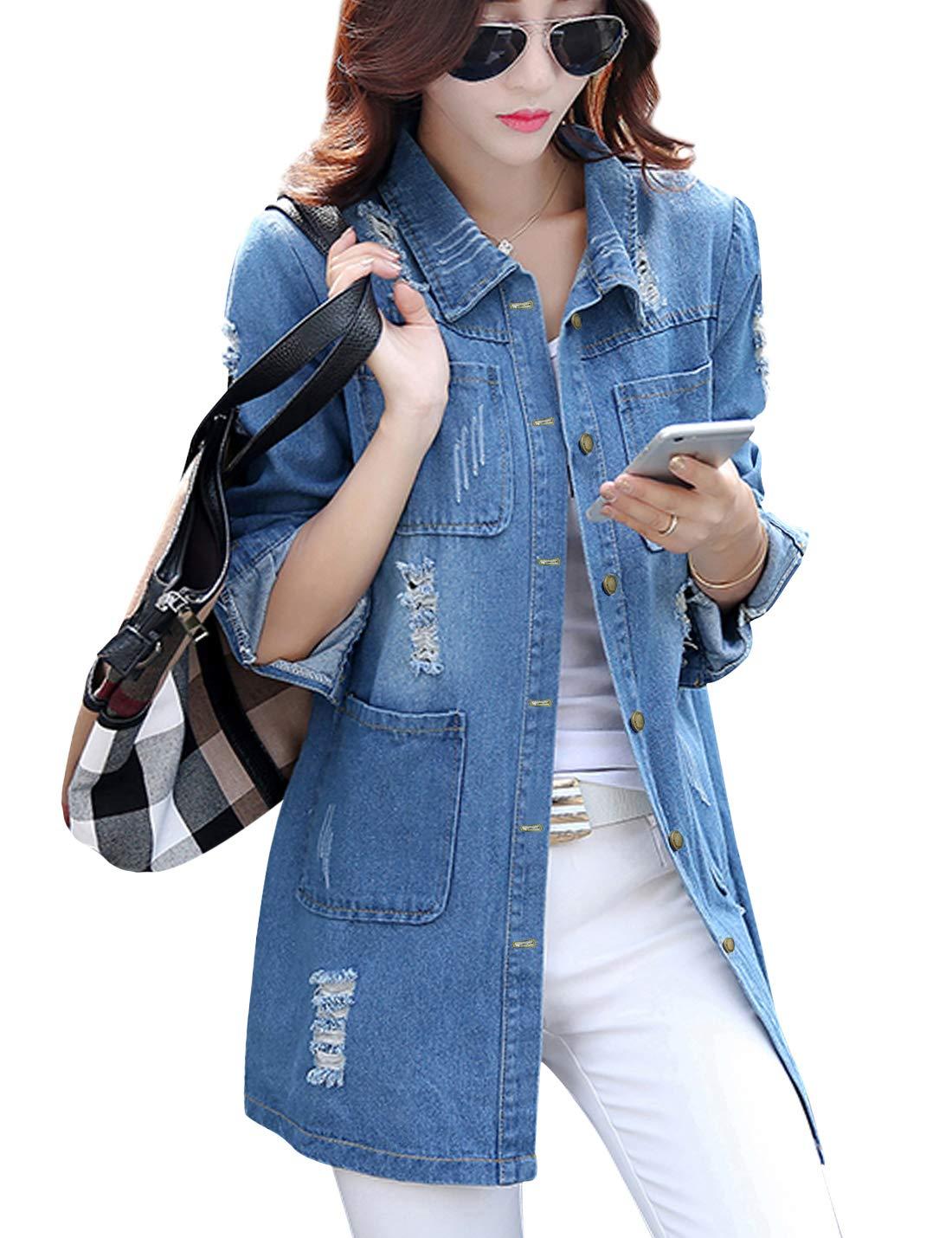 Tanming Women's Casual Lapel Slim Long Sleeve Denim Outercoat Jacket Windbreaker (Medium, Blue TM2) by Tanming