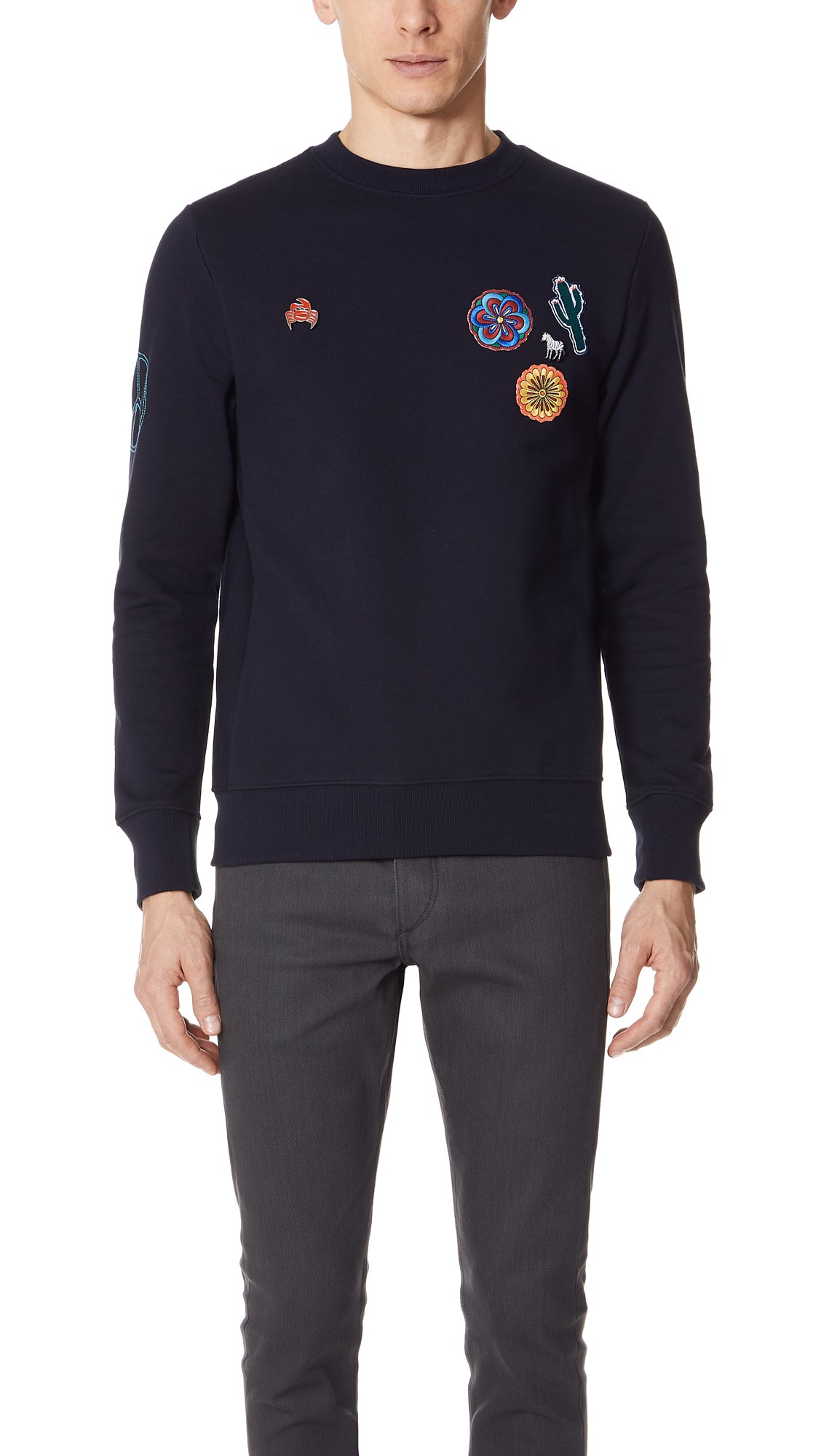 PS by Paul Smith Men's Embroidered Crew Neck Sweatshirt, Navy, Small