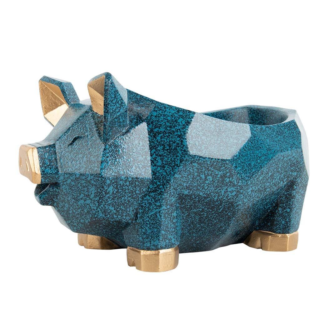 HONGNA Creative Nordic Lucky Pig Porch Key Storage Ornaments Home Living Room Door Shoe Cabinet Cute Home Decorations 201312cm (Color : Blue)