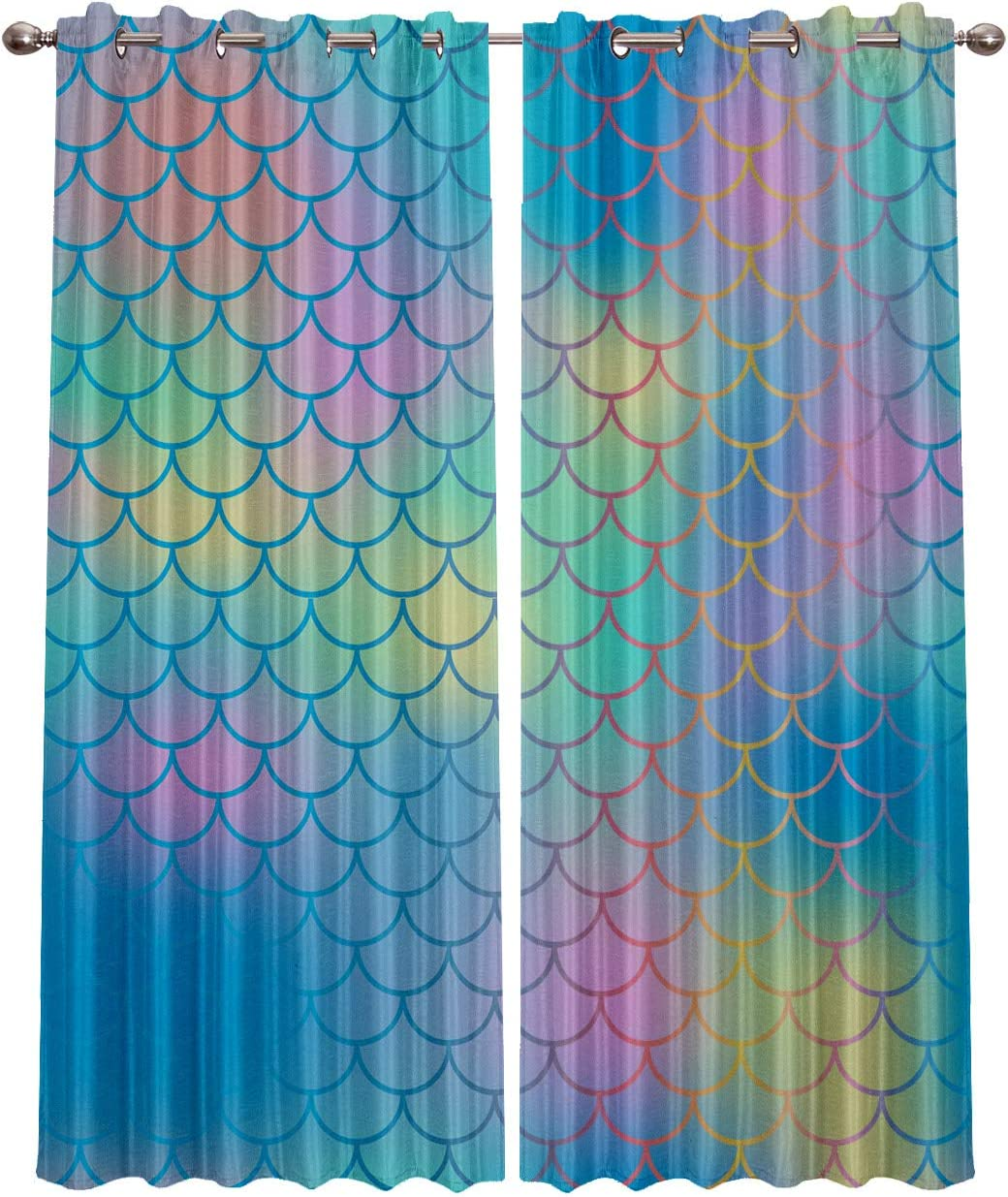 Rocking Giraffe Blackout Grommet Curtains for Living Room Fish Scale Mermaid Home Decor Treatment Thermal Darkening Drapes Window Curtains for Bedroom 2 Panels, 40 x 63 Inch Each Panel