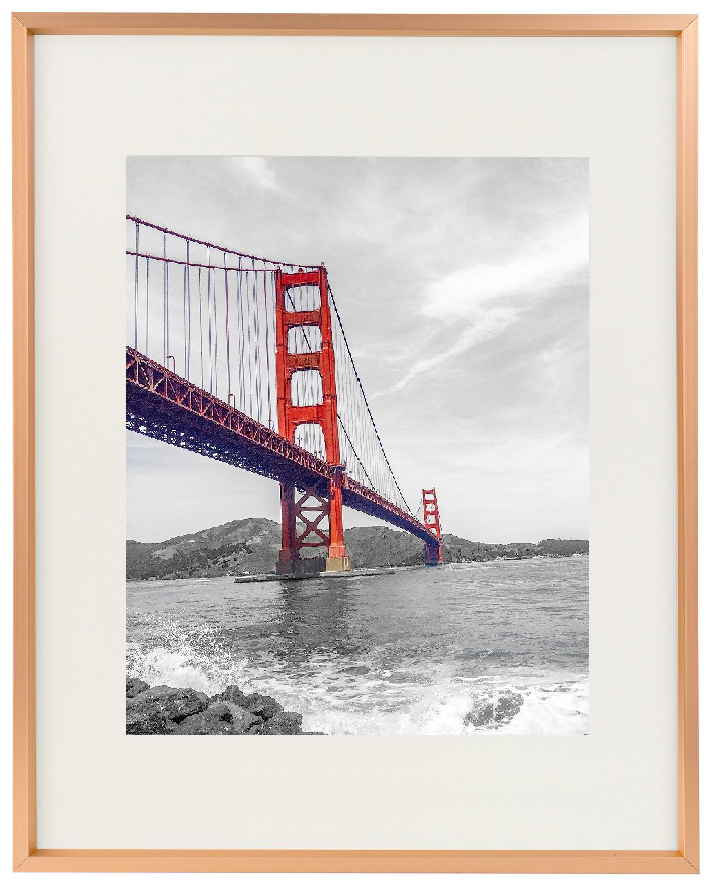 Frametory, 11x14 Aluminum Rose Gold Photo Frame with Ivory Color Mat for 8x10 Picture & Real Glass, Metal Picture Frame Collection (Rose Gold) by Frametory