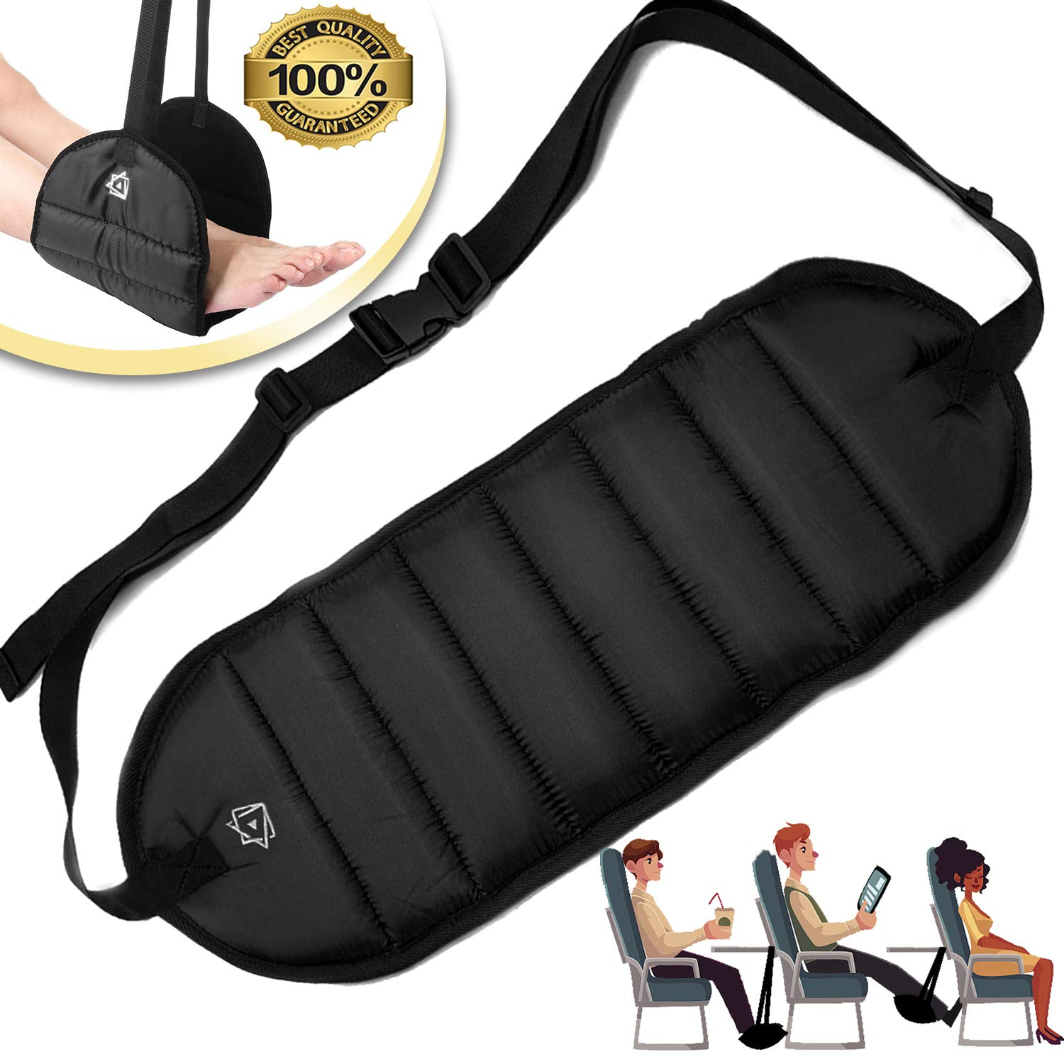 Foot Rest Airplane Travel Footrest - Flight Leg Hammock Hanger Sling to Prevent Back, Leg, Knee, Hip Pain & Stiffness - Portable Travel Accessories Adjustable Height for Plane, Train, Office by JUEYING