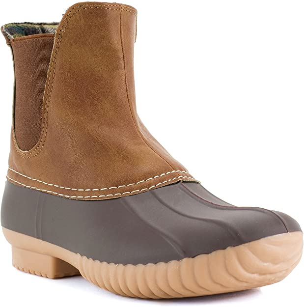 AVANTI Rocky Womens Slip On Duckboot - Waterproof Rainboot (10, Brown and Tan)