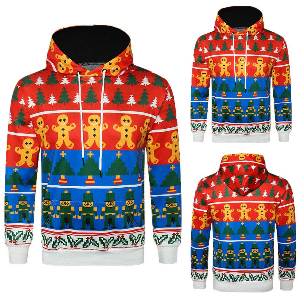 Frunalte men Hooded Sweatshirts Mens Casual Autumn Long Sleeve 3D Christmas Print Pullover Hoodie Tops at Amazon Mens Clothing store: