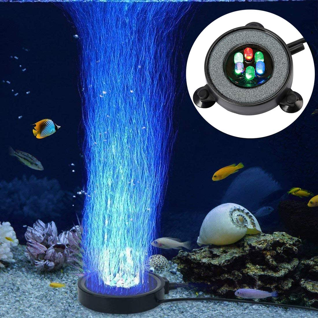 LED Aquarium Air Stones Fish Tank Bubbler Light Air Stone Diffuser Decor Lamp with Sucker Colorful Backgound Lighting (5.5cm/ 2.16inch)