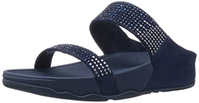 2db93c2a5b3078 FitFlop Flare Slide (Suede) Blue 9 UK
