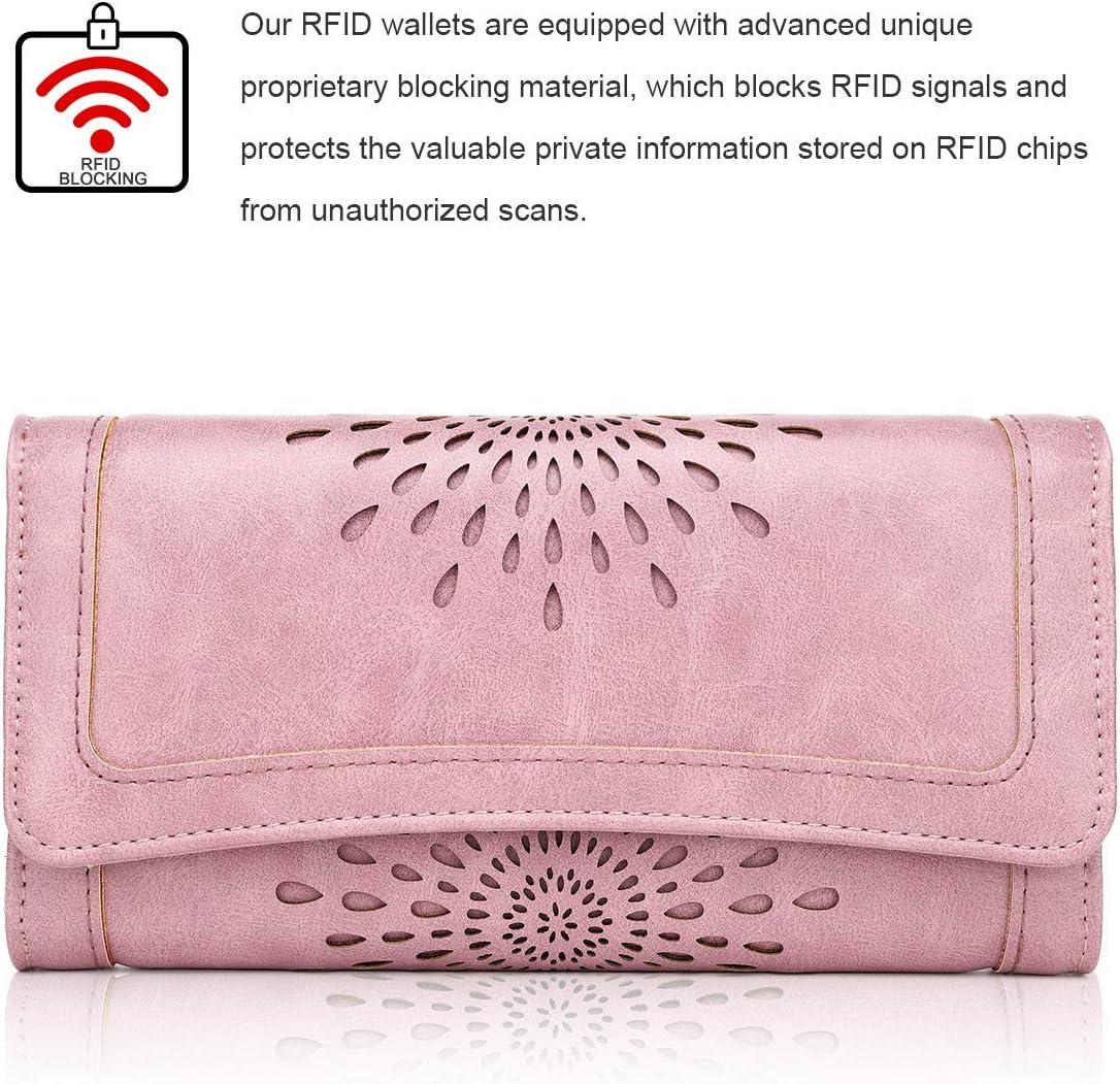 Portefeuille en Cuir PU avec Porte-Monnaie RFID Protection Portefeuille r/étro pour Dames Portefeuille Long pour Dames Portefeuille /él/égant 6 Fentes pour Cartes 2 Fen/être ID