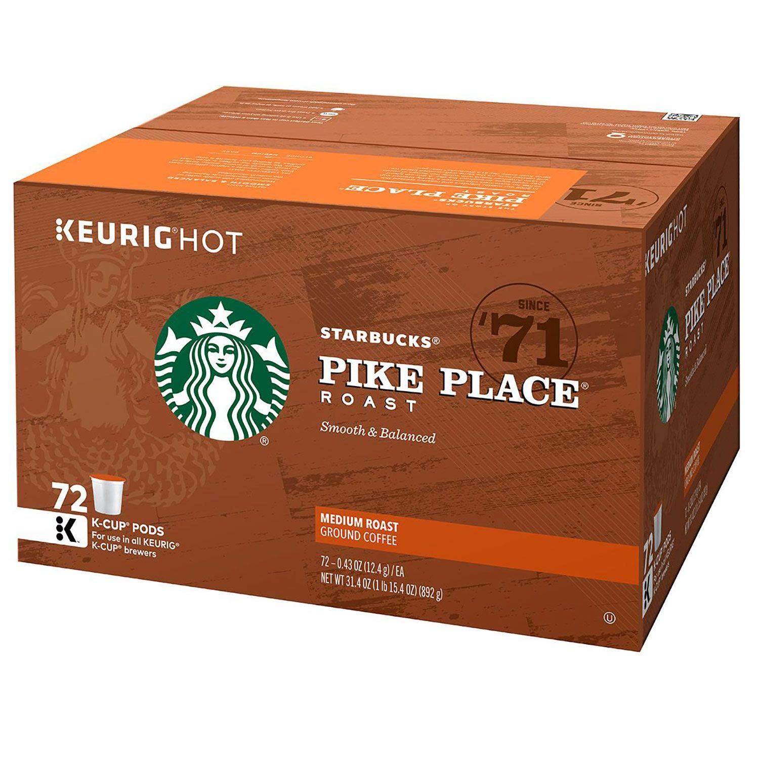 Starbucks Pike Place Roast, K-Cup for Keurig Brewers, 72 Count…