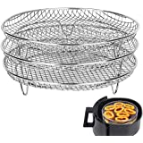 Air Fryer Three Stackable Dehydrator Racks for Gowise Phillips USA Cozyna Ninjia Airfryer,Stainless Steel Air Fryer Rack Fit