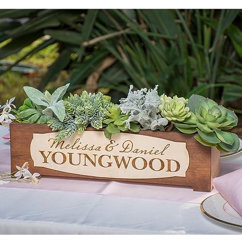 Amazon Personalized Rustic Wood Planter Box Wedding Centerpiece