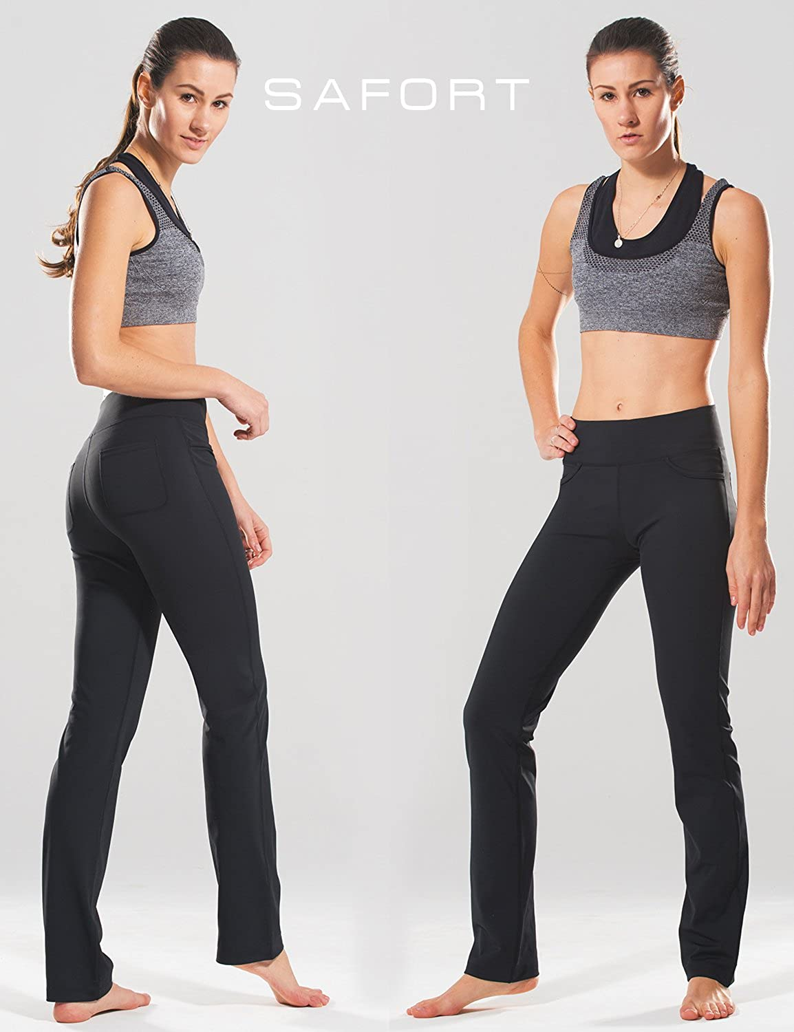 "Safort 28"" 30"" 32"" 34"" Inseam Regular Tall Straight Leg Yoga Pants, Workout Pants"