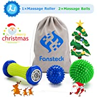 Foot Massage Roller & Massage Ball, Fansteck Muscle Roller Stick and 2 Different Spiky Balls for Plantar Fasciitis & Muscle Recovery, Myofascial Release, Trigger Point Therapy, PAH & Phthalates Free