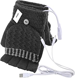 Offeree USB Heated Gloves Mitten for Women Men full and half hands warm laptop gloves with double-sided heating for indoor or outdoor winter usb powered knitting hands warmer (Men Grey)