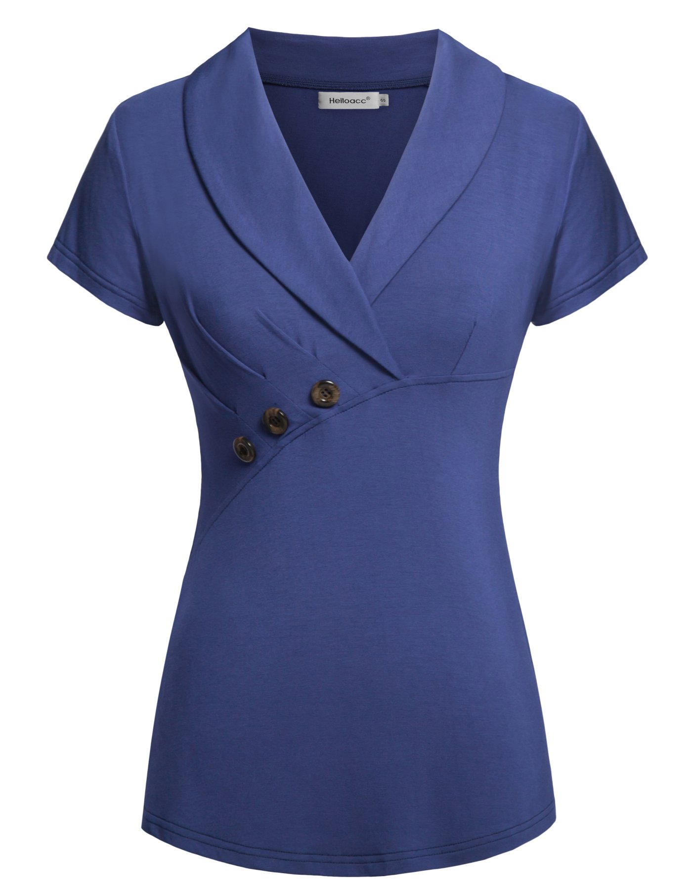 Helloacc Short Sleeve Blouses for Women, Lady Summer Casual V Neck Slimming Fit Solid Color Lightweight Oversized Office Blouse Shirt Top Wear to Work Royal Blue 2XL