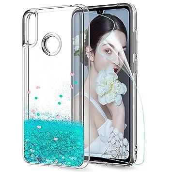 LeYi Funda Huawei Y7 2019 Silicona Purpurina Carcasa con HD Protectores de Pantalla,Transparente Cristal Bumper Telefono Gel TPU Fundas Case Cover ...