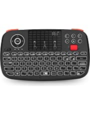 New Dual Mode Wireless Multimedia Keyboard with Touchpad Mouse, Rii I4 Bluetooth 4.0 + 2.4G Wireless Mini Keyboard with Scroll Button/LED Backlit/Rechargeable Battery
