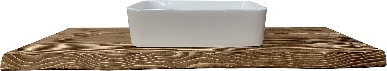 Mensola in legno rustico grezzo Mensola da bagno in legno massello con frontale scortecciato taglio tronco rustico Mensola in legno piano lavabo da bagno Misura 100x50x6 cm
