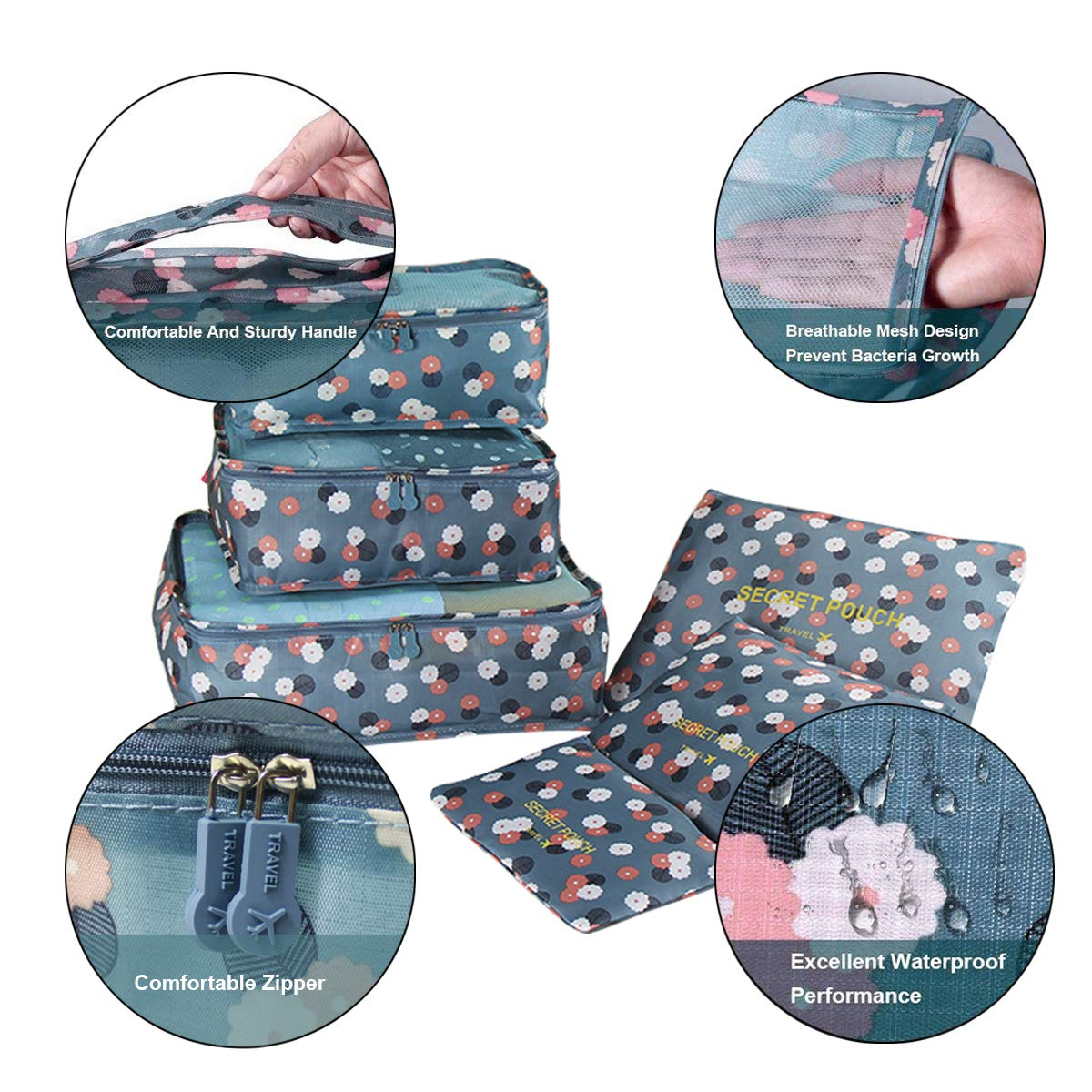 6 en 1 Set de Organizador de Equipaje Material Impermeable Organizadores de Viaje para Maletas Bolsas de Equipaje Bolsa para Ropa Zapatos Cosm/éticos Accesorios de Viaje