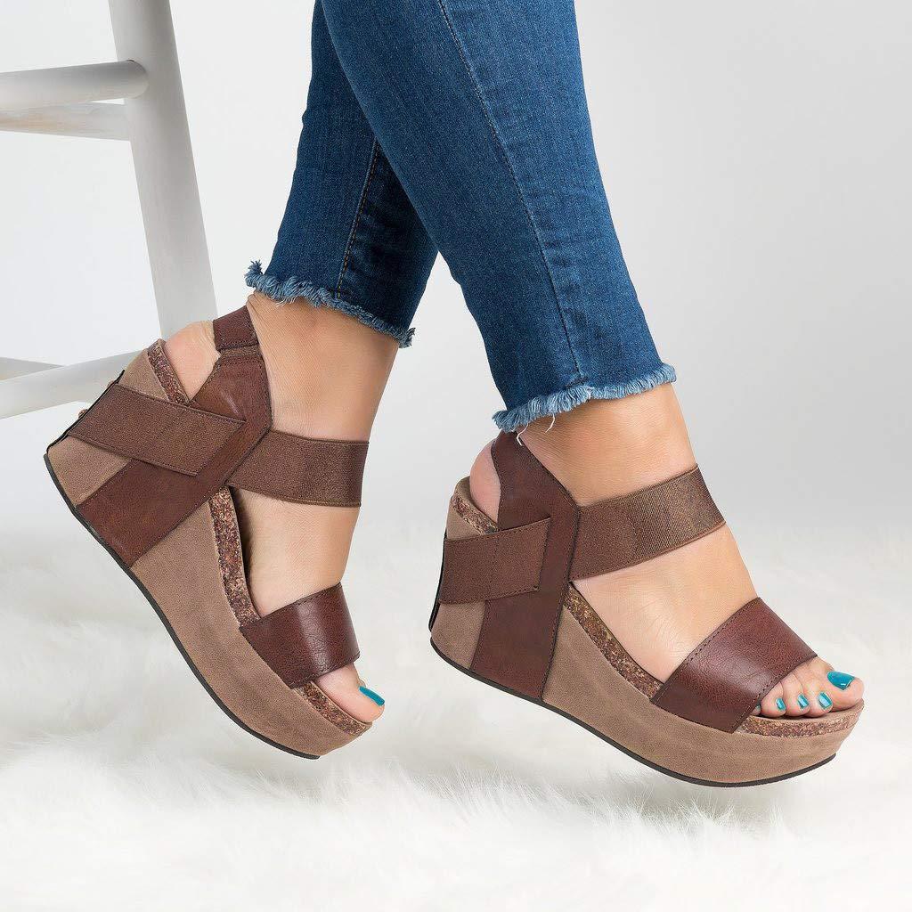 Womens Casual Sandals Summer Pee Toe Ankle Strap Slingback Sandal Breathable High Platform Elastic Band Shoes
